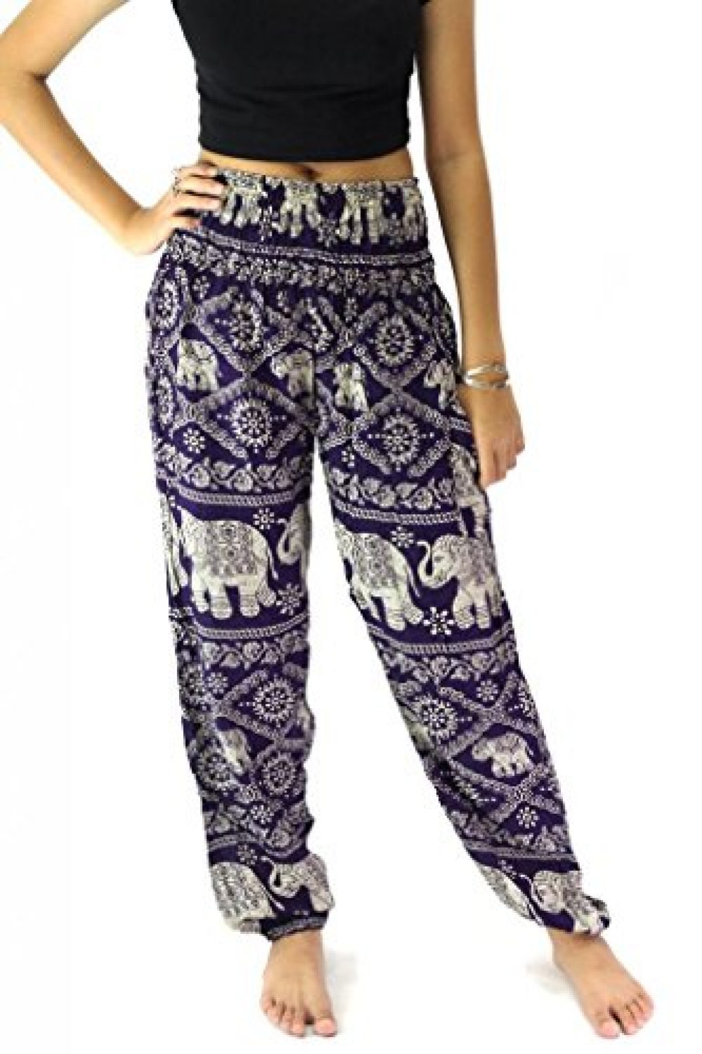 B Bangkok Pants Women S Harem Pants Bohemian Clothing Hippie Boho Elephant Pant Beach Casual Smocked High Waist Purple One Size Moon Maroon