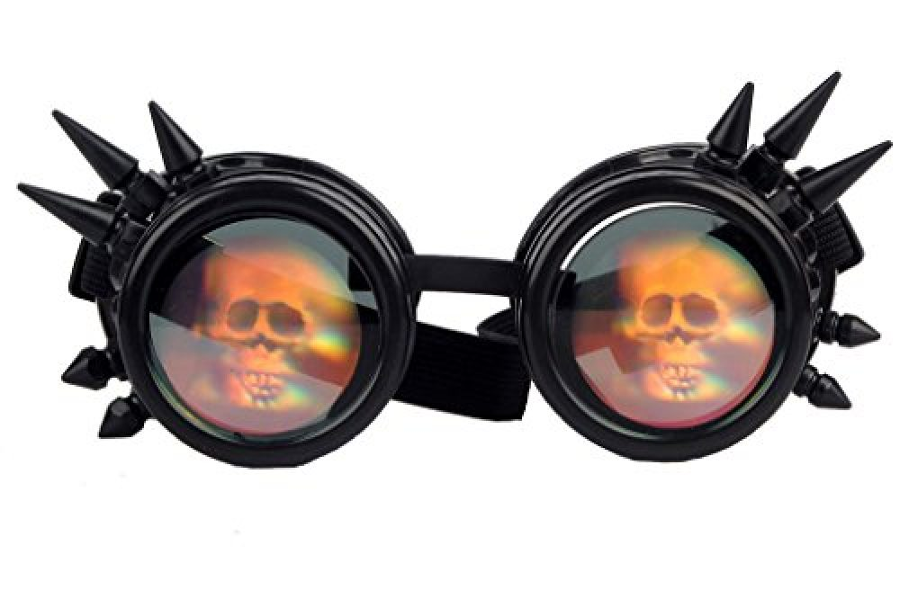 950122894d06 Kaleidoscope Steampunk Rave Glasses Goggles with Rainbow Crystal Glass Lens